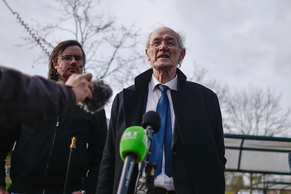 Gabriel and John Shipton speak to media over case of Julian Assange (Getty Images)