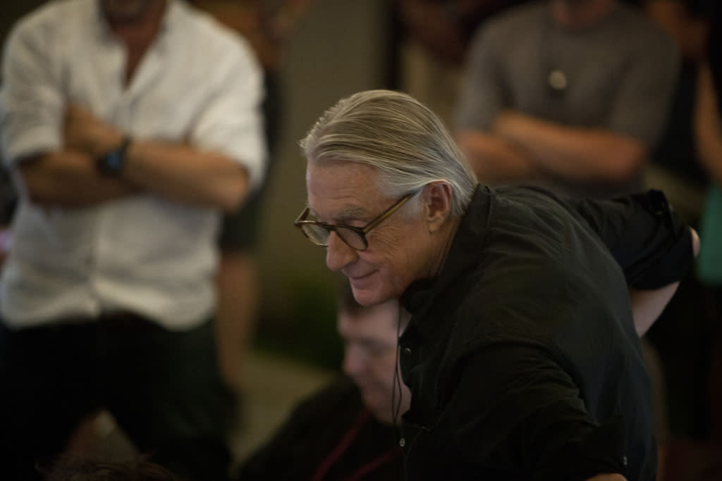 "Director Joel Schumacher on the set of Netflix's ""House of Cards."""