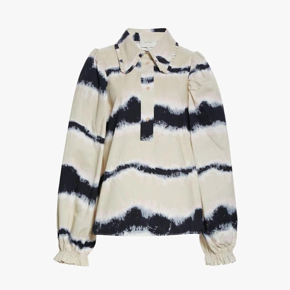 "$240, NORDSTROM. <a href=""https://www.nordstrom.com/s/munthe-tresco-tie-dye-long-sleeve-organic-cotton-blouse/5850184"" rel=""nofollow noopener"" target=""_blank"" data-ylk=""slk:Get it now!"" class=""link rapid-noclick-resp"">Get it now!</a>"