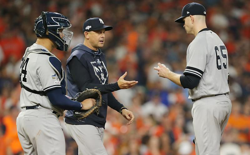 James Paxton #65 of the New York Yankees is pulled by manager Aaron Boone during the third inning against the Houston Astros in game two of the American League Championship Series at Minute Maid Park on October 13, 2019 in Houston, Texas. (Photo by Bob Levey/Getty Images)