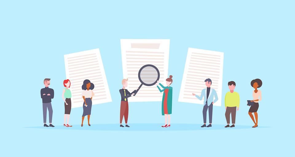people holding magnifying glass choosing cv profile resume businesspeople to hire curriculum vitae recruitment candidate job position flat blue background vector illustration (Photo: gmast3r via Getty Images)