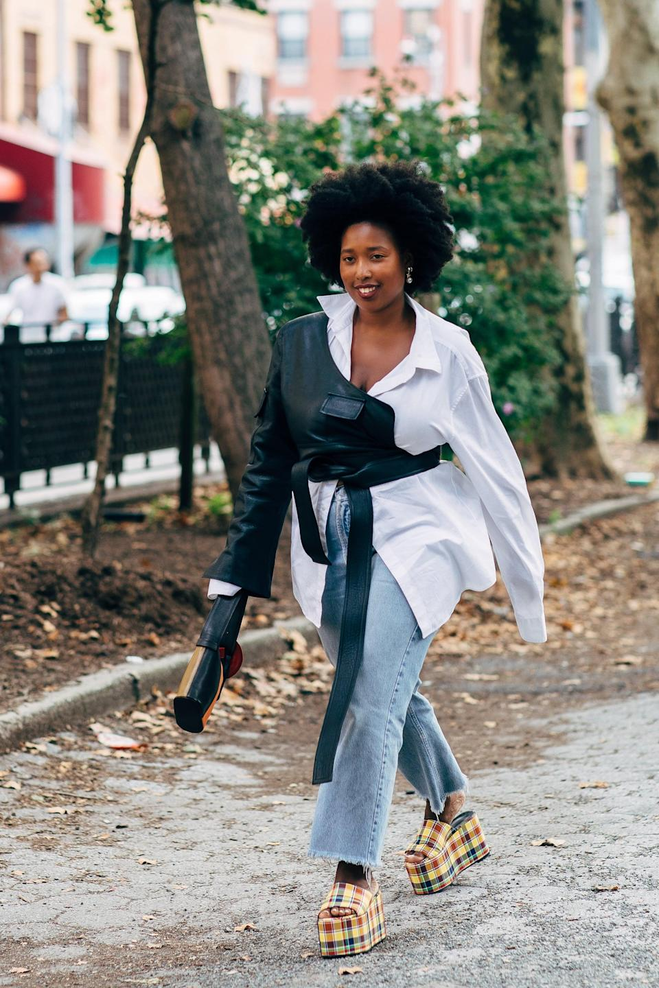 <p>Rework a button-down and jeans with bold platform sandals.</p>