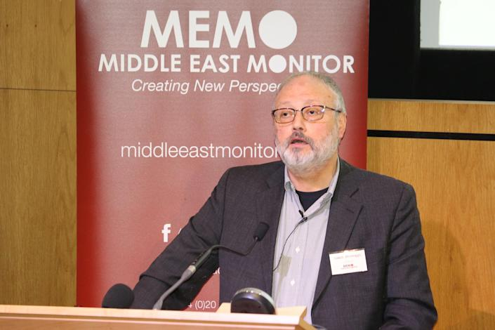 Saudi dissident Jamal Khashoggi speaks at an event hosted by Middle East Monitor in London on Sept. 29, 2018. (Photo: Middle East Monitor/Handout via Reuters)