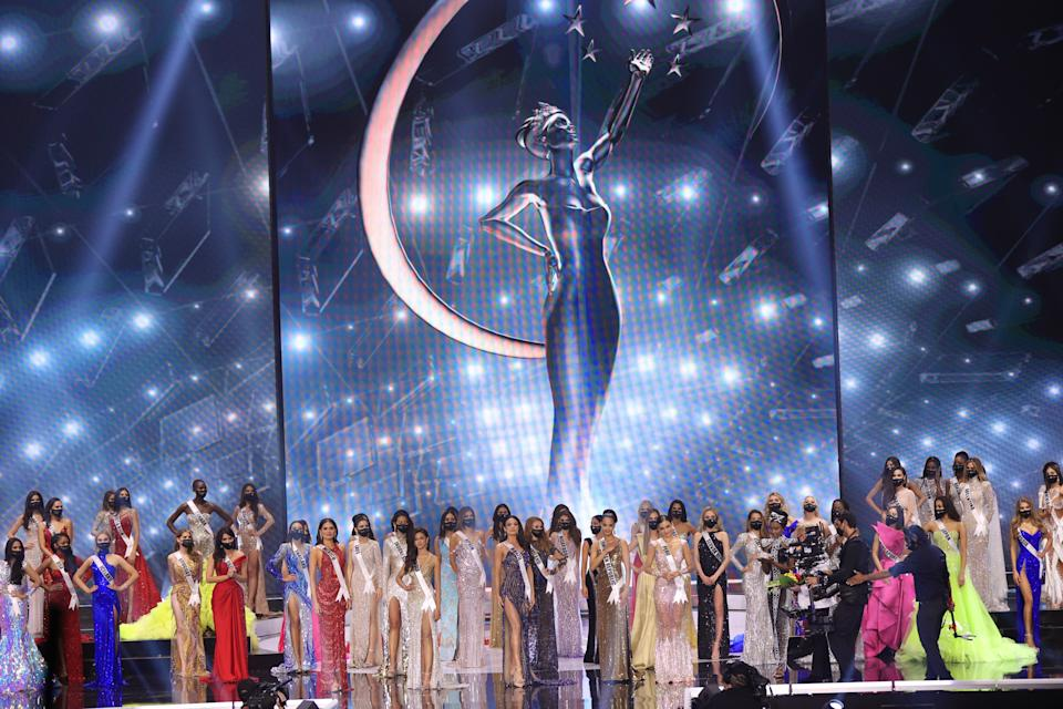 HOLLYWOOD, FLORIDA - MAY 16: Contestants appear onstage at the 69th Miss Universe competition at Seminole Hard Rock Hotel & Casino on May 16, 2021 in Hollywood, Florida. (Photo by Rodrigo Varela/Getty Images)