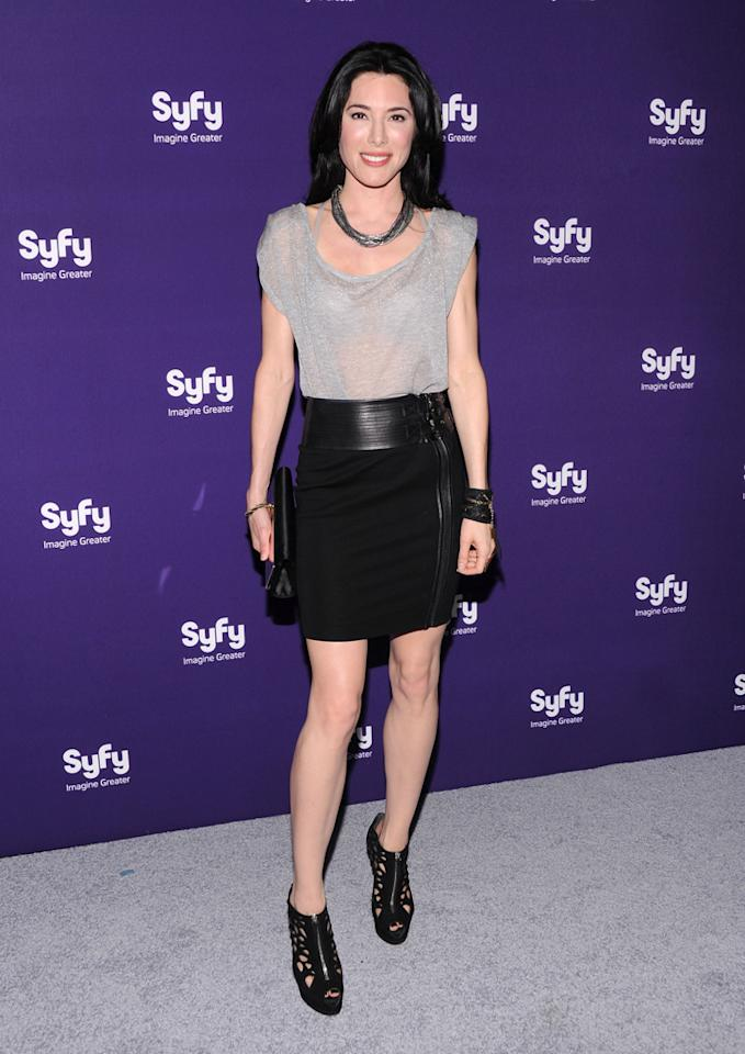 """Jaime Murray (""""<a href=""""http://tv.yahoo.com/defiance/show/48437/"""">Defiance</a>"""") attends Syfy's 2012 Upfront event at the American Museum of Natural History on April 24, 2012 in New York City."""