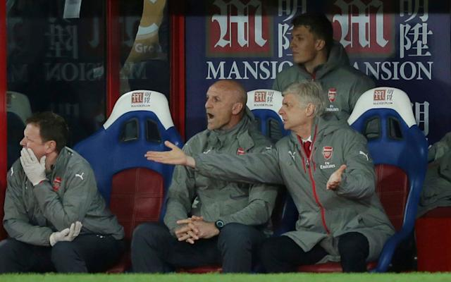<span>Arsene Wenger questions his players</span> <span>Credit: AP </span>