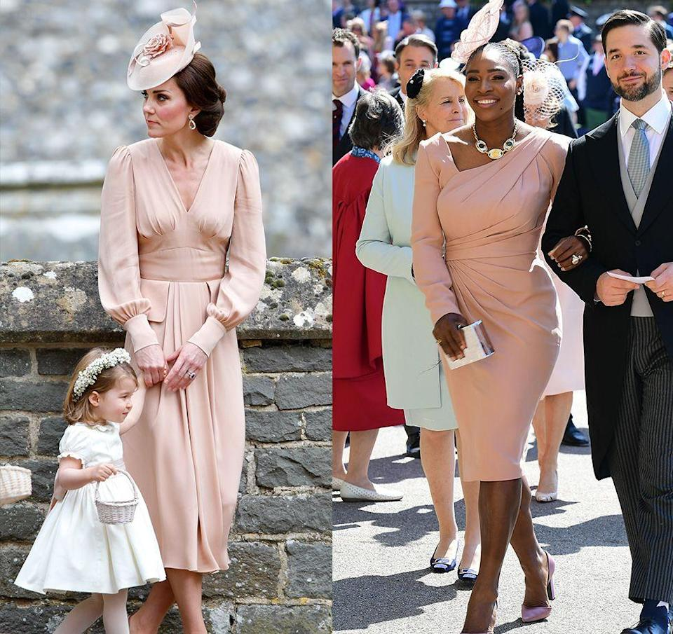 <p>Did Serena Williams base her royal wedding look on the Duchess of Cambridge's matron of honor Alexander McQueen dress? We may never know, but the blush sheath dresses and delicate side fascinators are awfully similar.</p>
