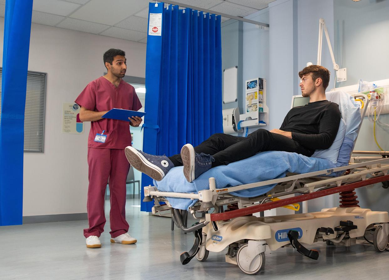 FROM ITV  STRICT EMBARGO - No Use Before Tuesday 24th August 2021  Coronation Street - Ep 10421  Friday 3rd September 2021 - 2nd Ep  In the hospital, the doctor tells Curtis [SAM RETFORD] theyÕd like to keep him in overnight and run some more tests. But Curtis reckons itÕs a waste of time. Also pictured Emma Brooker [ALEXANDRA MARDELL]  Picture contact David.crook@itv.com   This photograph is (C) ITV Plc and can only be reproduced for editorial purposes directly in connection with the programme or event mentioned above, or ITV plc. Once made available by ITV plc Picture Desk, this photograph can be reproduced once only up until the transmission [TX] date and no reproduction fee will be charged. Any subsequent usage may incur a fee. This photograph must not be manipulated [excluding basic cropping] in a manner which alters the visual appearance of the person photographed deemed detrimental or inappropriate by ITV plc Picture Desk. This photograph must not be syndicated to any other company, publication or website, or permanently archived, without the express written permission of ITV Picture Desk. Full Terms and conditions are available on  www.itv.com/presscentre/itvpictures/terms