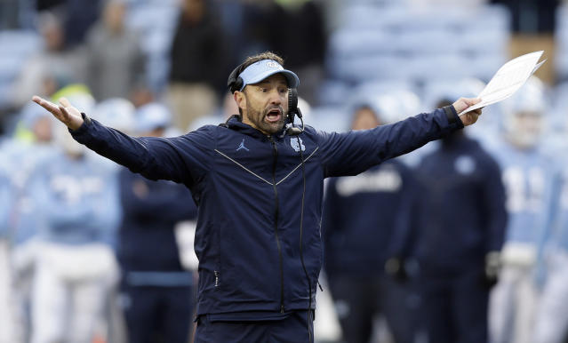 Larry Fedora had a 45-43 record in seven seasons at North Carolina. (AP Photo/Gerry Broome)