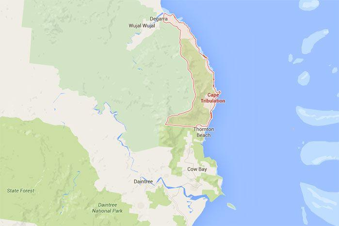 The woman reportedly went missing at Cape Tribulation's Thornton Beach.