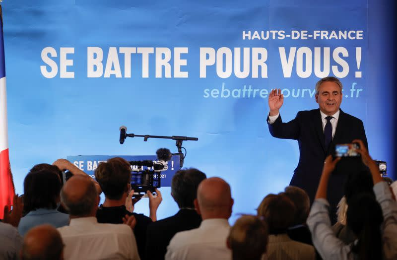 Conservative leader Xavier Bertrand reacts to the results of regional election, in Saint-Quentin