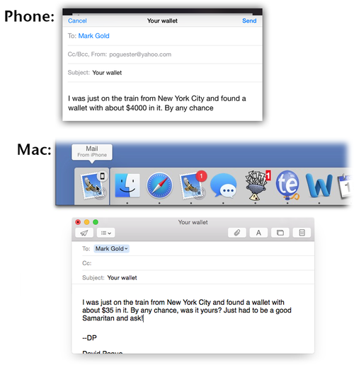 OS X Yosemite Handoff feature on iPhone and Mac
