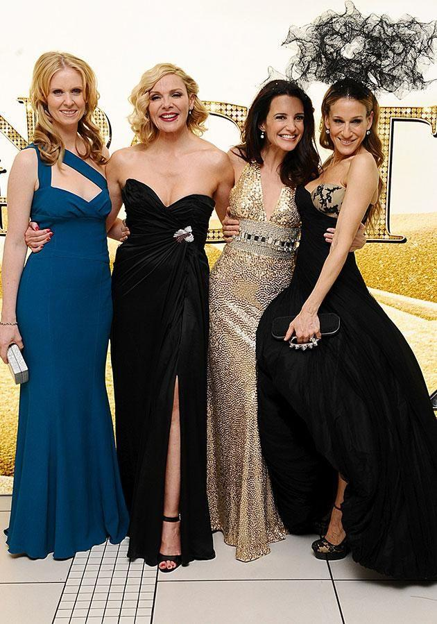 The ladies from Sex and the City strike a pose (L-R): Cynthia Nixon, Kim Cattrall, Kristin Davis and Sarah Jessica Parker. Source: Getty