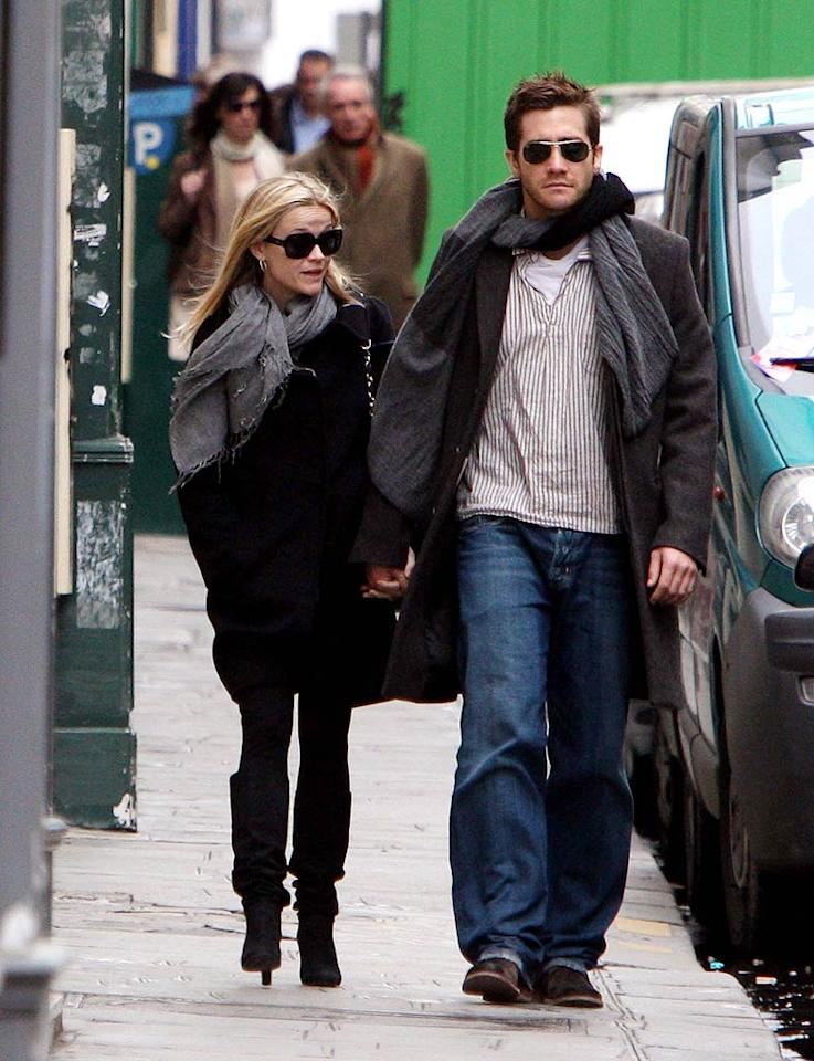 """Instead of walking through the romantic streets of Paris, perhaps Reese Witherspoon and Jake Gyllenhaal will walk down the aisle in the near future. KCSPresse/<a href=""""http://www.splashnewsonline.com"""" target=""""new"""">Splash News</a> - March 14, 2009"""