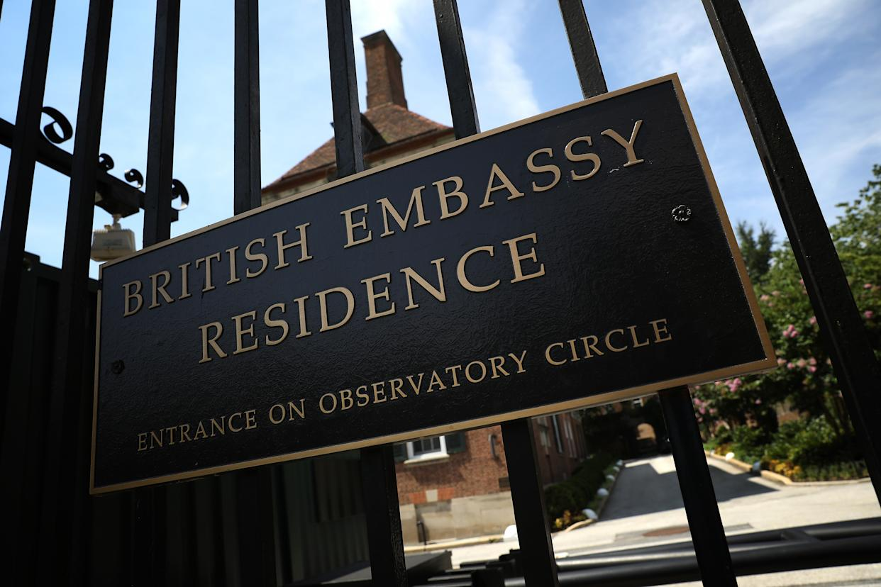 """WASHINGTON, DC - JULY 10:  The residence of British Ambassador Sir Kim Darroch is shown July 10, 2019 in Washington, DC. Darroch has resigned his position as UK Ambassador to the United States following the publication of memos with observations about U.S. President Donald Trump. Darroch wrote, """"Although my posting is not due to end until the end of this year, I believe in the current circumstances the responsible course is to allow the appointment of a new ambassador.""""  (Photo by Win McNamee/Getty Images)"""