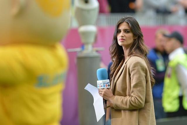 Spanish television presenter and girlfriend of Spain's goalkeeper Iker Casillas, Sara Carbonero looks on prior to the Euro 2012 championships football match Spain vs Italy on June 10, 2012 at the Gdansk Arena. AFPPHOTO/ GIUSEPPE CACACEGIUSEPPE CACACE/AFP/GettyImages