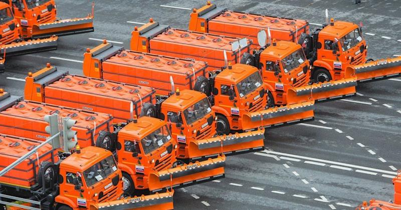 Moscow's parade of city services vehicles.