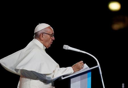 FILE PHOTO: Pope Francis speaks during the Festival of Families at Croke Park during his visit to Dublin. REUTERS/Stefano Rellandini