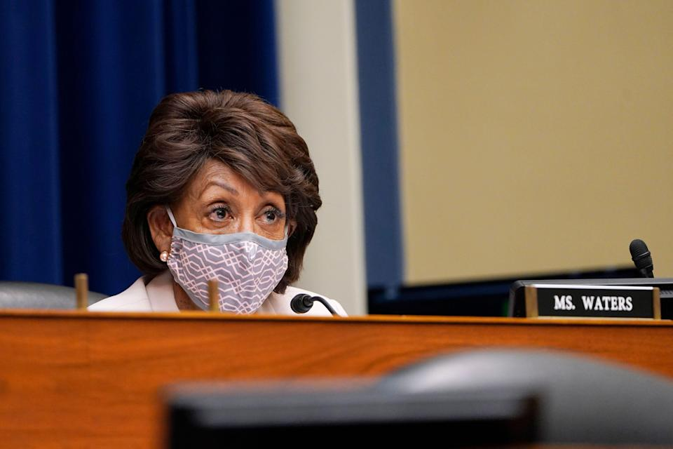 Rep. Maxine Waters, D-Calif., speaks during a House Select Subcommittee hearing on Capitol Hill in Washington, Thursday, April 15, 2021, on the coronavirus.