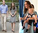 <p>Duchess Kate wore this black and white patterned Tory Burch frock in April 2014 and in October 2015. </p>