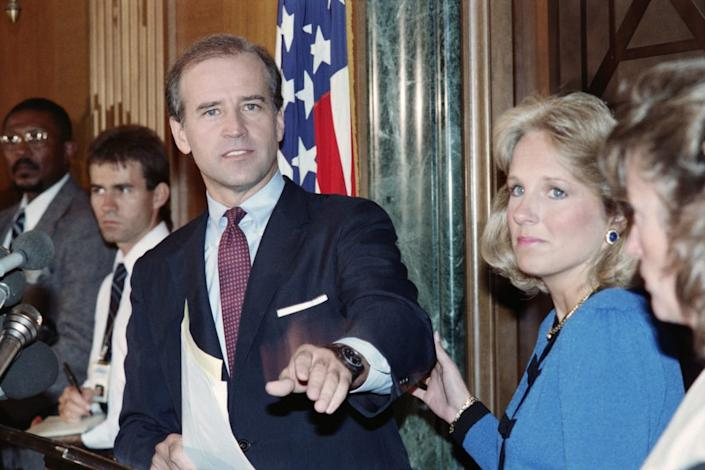 """<div class=""""inline-image__caption""""><p>Joe Biden announces he is withdrawing from the race for the 1988 Democratic presidential nomination.</p></div> <div class=""""inline-image__credit"""">Jerome Delay/AFP via Getty</div>"""