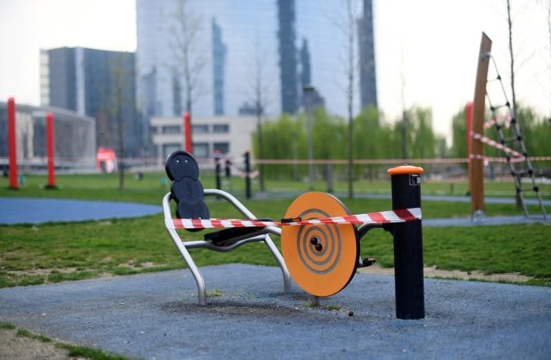 """Closed exercise equipment is seen at the """"Biblioteca deli Alberi"""" public park, amid concerns about the spread of coronavirus disease (COVID-19), in Milan"""