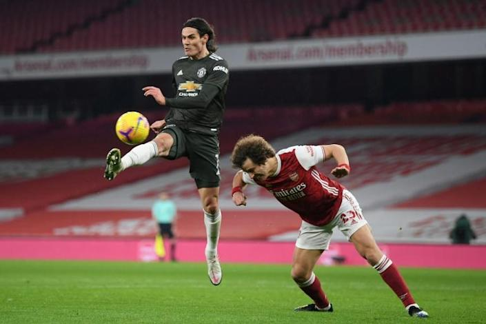 Misfiring Matador: Edinson Cavani missed a late chance to give Manchester United victory at Arsenal