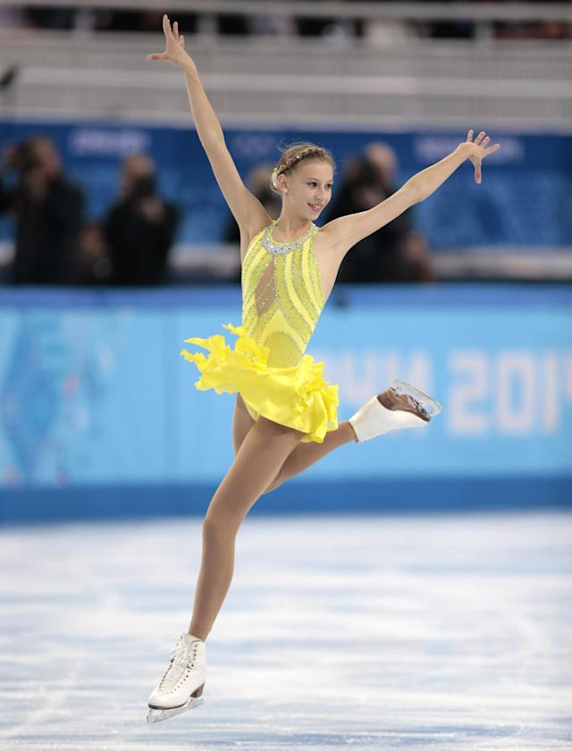 Polina Edmunds of the United States competes in the women's short program figure skating competition at the Iceberg Skating Palace during the 2014 Winter Olympics, Wednesday, Feb. 19, 2014, in Sochi, Russia. (AP Photo/Ivan Sekretarev)