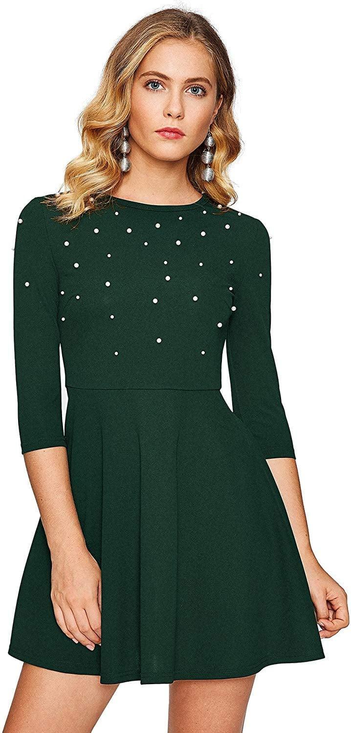 """<p>Wear this <a href=""""https://www.popsugar.com/buy/Floerns-Beaded-Fit-Flare-Skater-Dress-512879?p_name=Floerns%20Beaded%20Fit%20and%20Flare%20Skater%20Dress&retailer=amazon.com&pid=512879&price=26&evar1=fab%3Aus&evar9=46871725&evar98=https%3A%2F%2Fwww.popsugar.com%2Ffashion%2Fphoto-gallery%2F46871725%2Fimage%2F46871727%2FFloerns-Beaded-Fit-Flare-Skater-Dress&list1=shopping%2Camazon%2Cdresses%2Cparty%20dresses%2Choliday%20fashion&prop13=mobile&pdata=1"""" rel=""""nofollow noopener"""" class=""""link rapid-noclick-resp"""" target=""""_blank"""" data-ylk=""""slk:Floerns Beaded Fit and Flare Skater Dress"""">Floerns Beaded Fit and Flare Skater Dress </a> ($26) with black tights.</p>"""