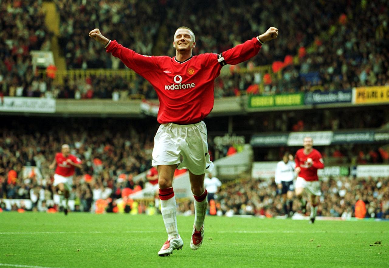 <p>2001: Tottenham Hotspur 3 Manchester United 5. When Spurs led the Premier League champions 3-0 at White Hart Lane at half time, it looked all over. It wasn't. Here David Beckham celebrates capping United's incredible fightback with the Reds' fifth goal </p>