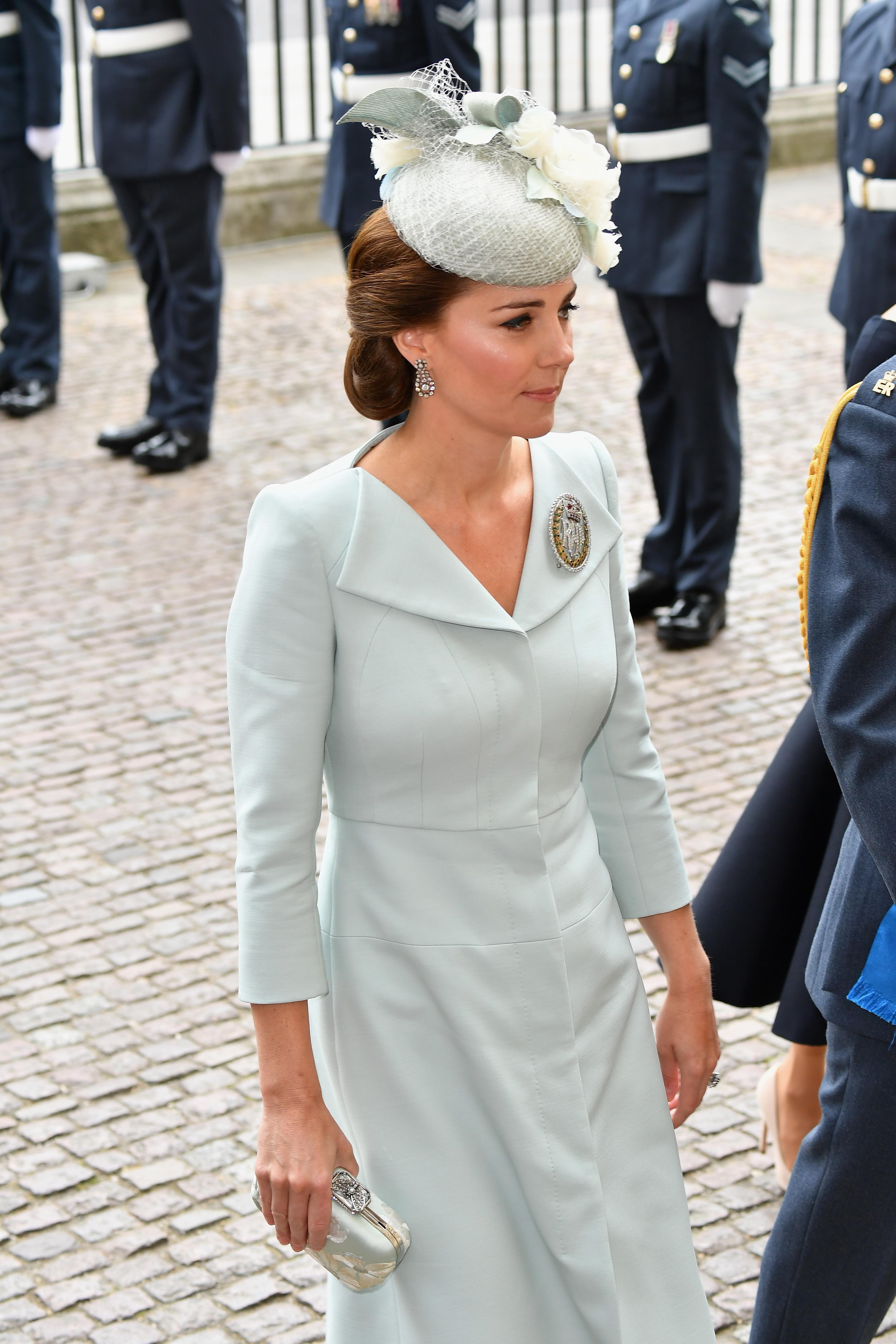 The Duchess of Cambridge accessorised with her Air Cadets Dacre brooch. [Photo: Getty]