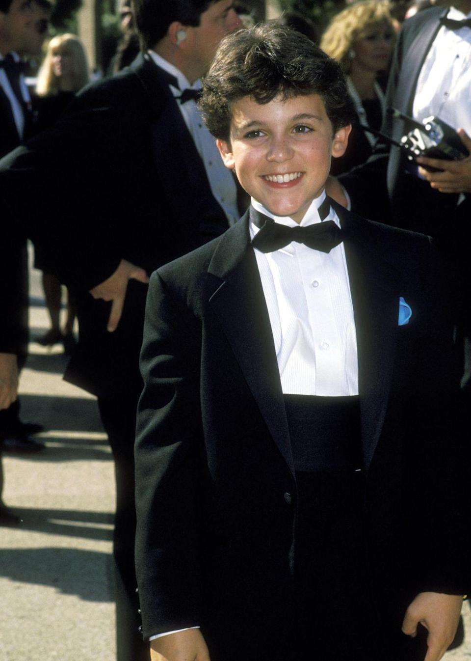 """<p>The young star of """"Little Monsters"""" and """"The Wizard"""" handsomely wore a tuxedo for his red carpet appearance.</p>"""