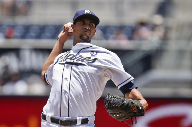San Diego Padres starting pitcher Tyson Ross faces the Cincinnati Reds in the first inning of a baseball game Wednesday, July 2, 2014, in San Diego. (AP Photo/Lenny Ignelzi)