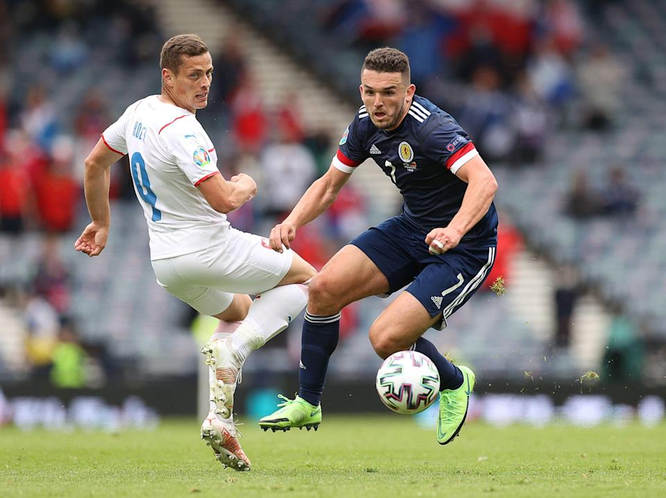 John McGinn in action against Czech Republic (POOL/AFP via Getty Images)