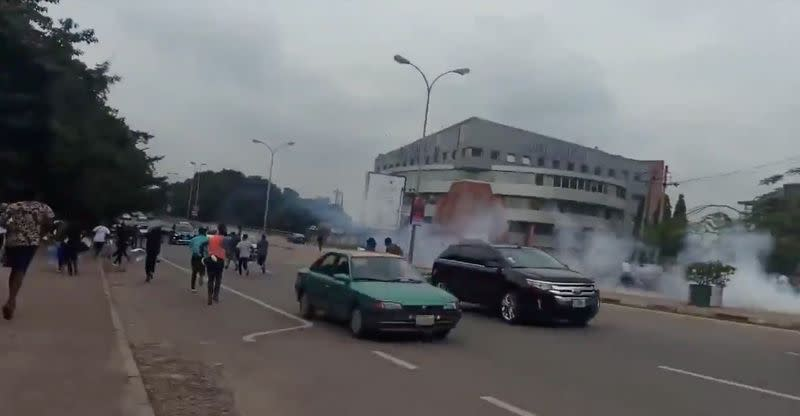 Police fire teargas at Nigerians protesting at alleged brutality, witnesses say