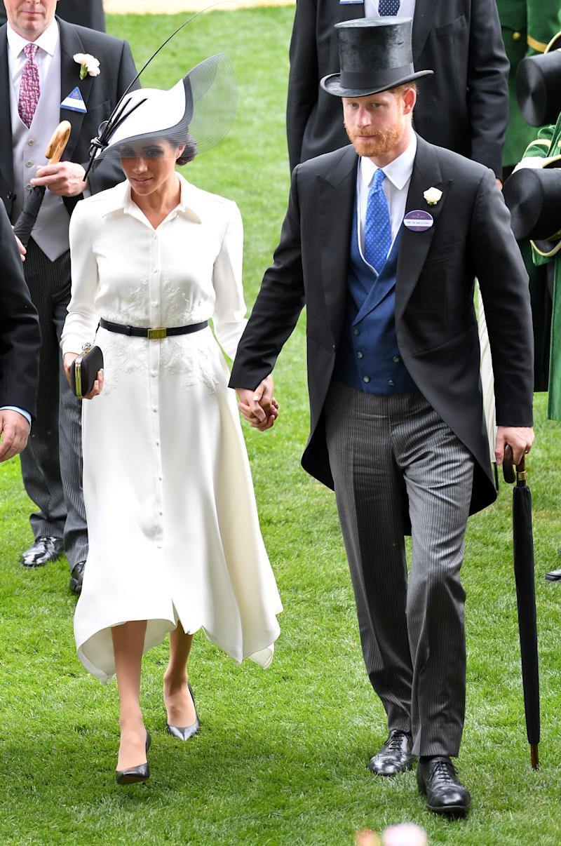Meghan, Duchess of Sussex and Prince Harry, Duke of Sussex, visit Royal Ascot Day 1 at the Ascot Racecourse on June 19, 2018 in Ascot, United Kingdom.