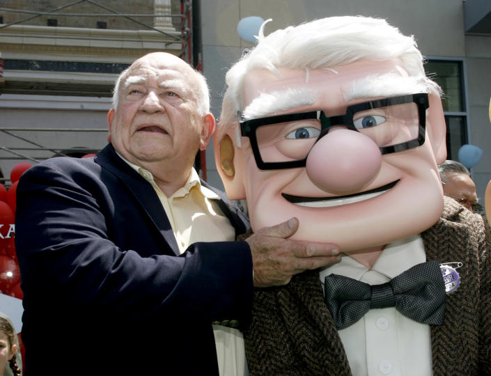 Image: Ed Asner and character at the premiere of the Disney-Pixar animated film