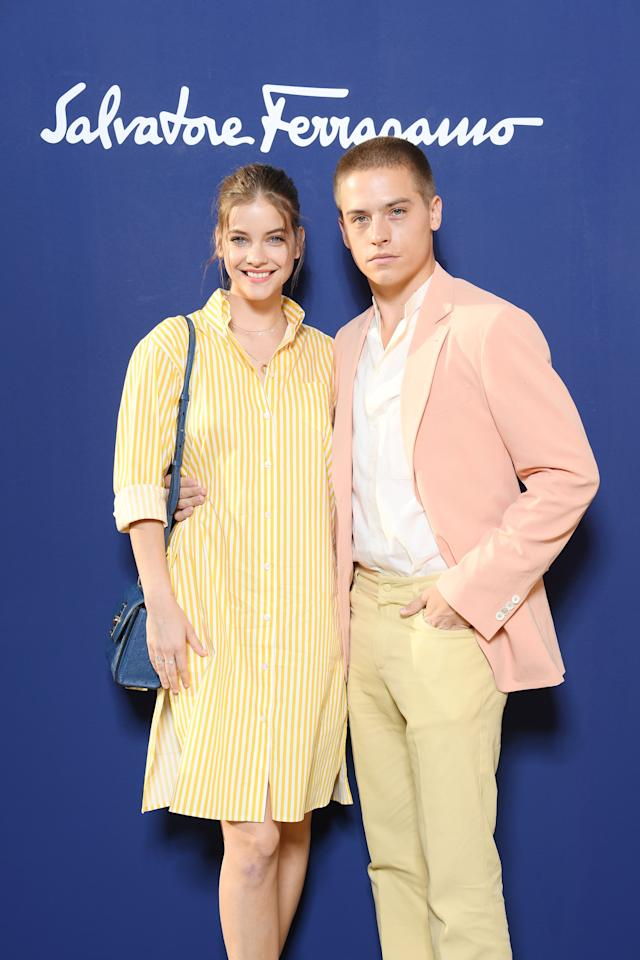 <p>The couple's matching Salvatore Ferragamo preppy pastels were perfect for a Summer day in Italy.</p>