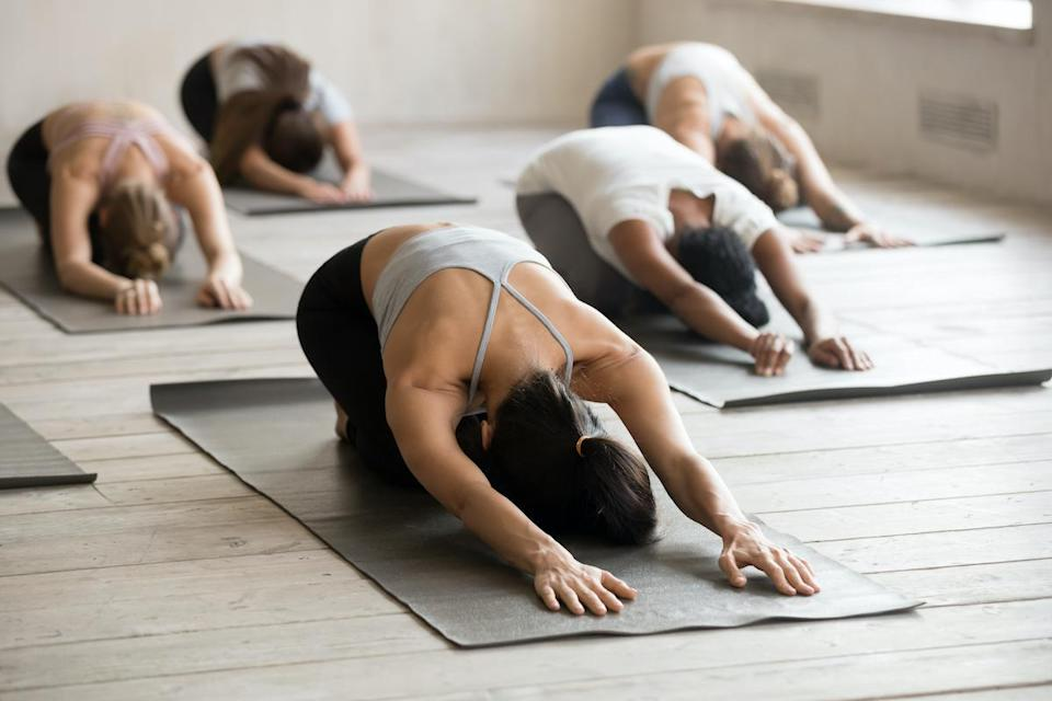 Group of sporty people practicing yoga lesson, doing Child exercise, Balasana pose, working out, indoor full length, mixed race female students training at club or studio. Well being, fitness concept
