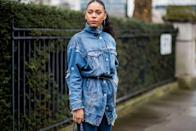 <p>A distressed denim jacket gets a little help from a minimal belt. Not only does it accentuate your waistline, but the added accessory makes the jacket more upscale and modern. </p>