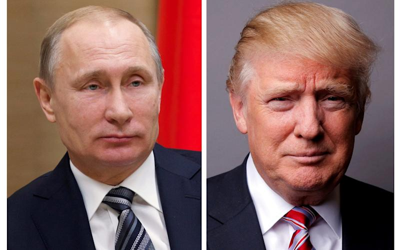 A combination of file photos showing Russian President Vladimir Putin at the Novo-Ogaryovo state residence outside Moscow, Russia, January 15, 2016 and U.S. President Donald Trump posing for a photo in New York City, U.S., May 17, 2016. - REUTERS