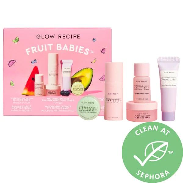 "<p>Oh, baby! The <product href=""https://www.sephora.com/product/glow-recipe-fruit-babies-P462365?icid2=products%20grid:p462365"" target=""_blank"" class=""ga-track"" data-ga-category=""internal click"" data-ga-label=""https://www.sephora.com/product/glow-recipe-fruit-babies-P462365?icid2=products%20grid:p462365"" data-ga-action=""body text link"">Glow Recipe Fruit Babies</product> ($25) couldn't <em>be</em> a more perfect introduction to <a href=""https://www.popsugar.com/beauty/k-beauty-skincare-trends-2020-46595437"" class=""ga-track"" data-ga-category=""internal click"" data-ga-label=""https://www.popsugar.com/beauty/k-beauty-skincare-trends-2020-46595437"" data-ga-action=""body text link"">K-beauty skin care</a> with these five antioxidant-rich minis.</p>"