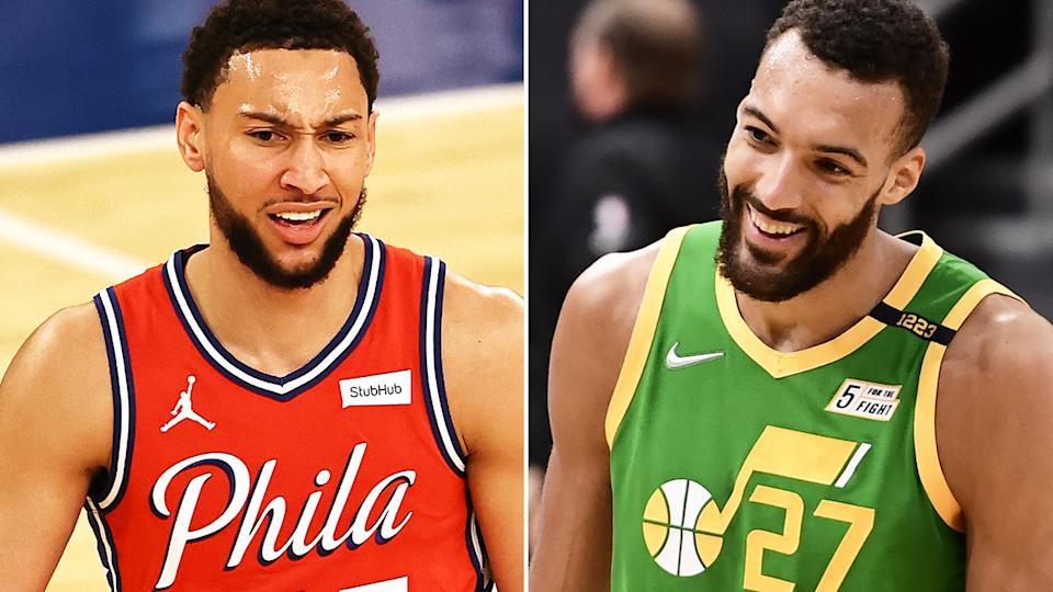 Philadelphia's Ben Simmons and Utah Jazz big man Rudy Gobert have taken some subtle shots at one another over the NBA's Defensive Player of the Year award. Pictures: Getty Images