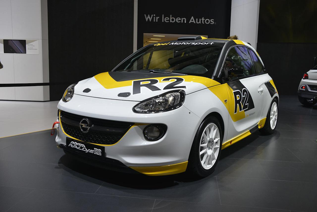 Opel Adam Ralleye R2. What happens when you spec your Adam up to rally car levels? The Adam R2 is the answer, with huge power from its 1.6-litre engine and an uprated chassis. It will be built to compete on the world stage alongside other rally-converted superminis (PA/Geneva Motor Show)