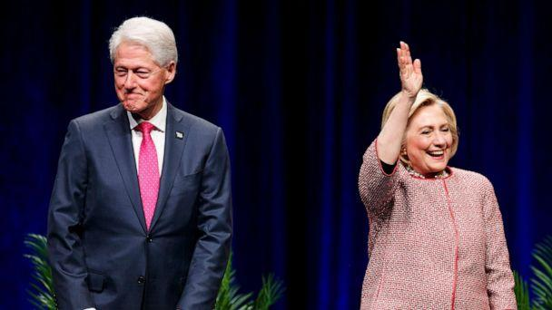 PHOTO: Former President Bill Clinton and former Secretary of State and presidential candidate Hillary Clinton on stage at Rogers Arena on May 02, 2019, in Vancouver, Canada (Andrew Chin/Getty Images, FILE)