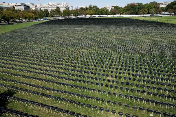 PHOTO: Empty chairs who represent a fraction of the more than 200,000 lives lost due to COVID-19, are seen during the National COVID-19 Remembrance, at The Ellipse outside the South side of the White House, Oct. 4, 2020, in Washington. (Jose Luis Magana/AP)