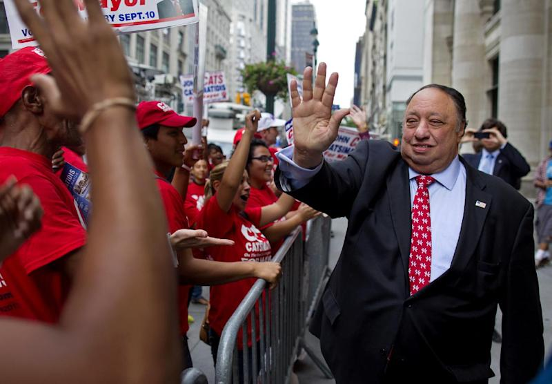 New York Republican mayoral candidate John Catsimatidis greets supporters before a television debate in New York Wednesday, Aug. 28, 2013. He is facing George McDonald and Joe Lhota in an upcoming primary. (AP Photo/Craig Ruttle)