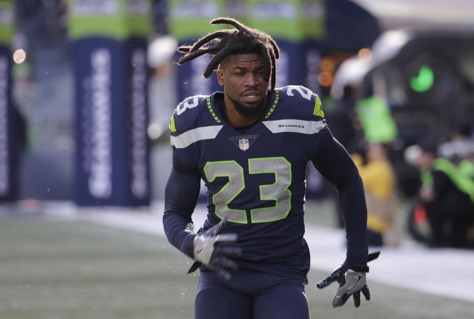 Seattle defensive backs Neiko Thorpe, above, and Mike Tyson were accosted by an anonymous, shouting woman on Sunday. (AP)