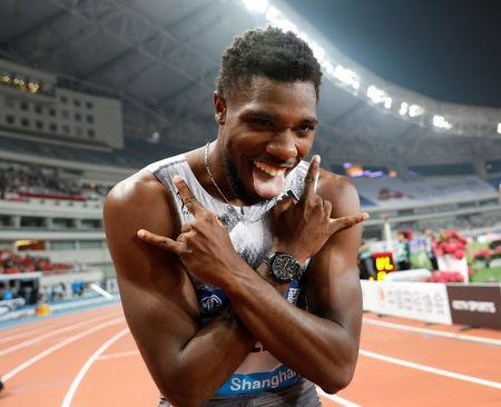 Athletics - Diamond League - Shanghai - Shanghai Stadium, Shanghai, China - May 18, 2019 Noah Lyles of the U.S. celebrates winning the Men's 100m REUTERS/Aly Song