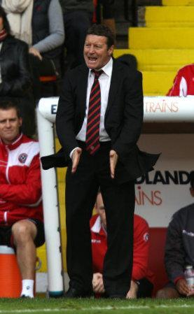 Sheffield United's Danny Wilson gestures from the touchline